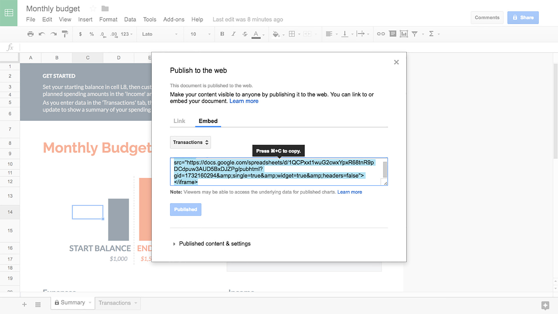 Google Sheets screenshot 2