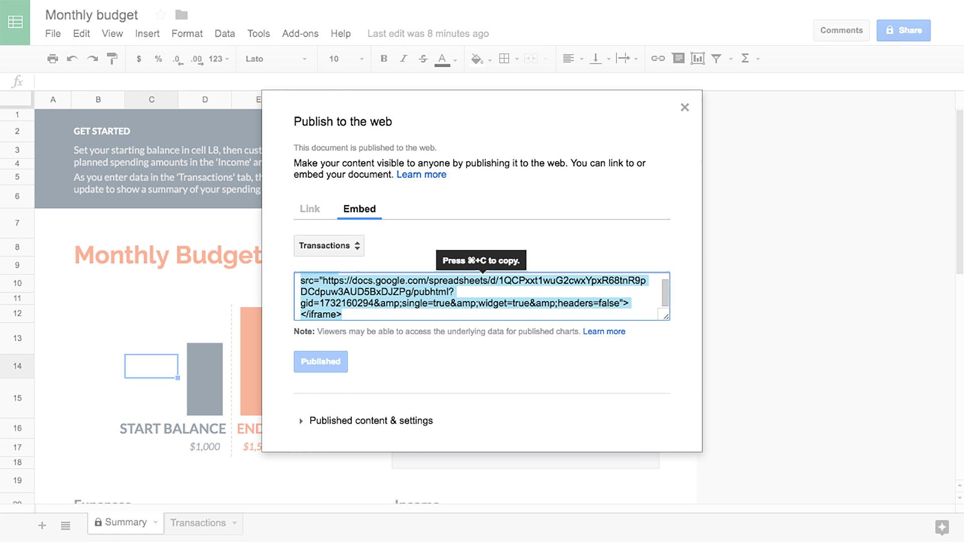 Google Sheets screenshot 2