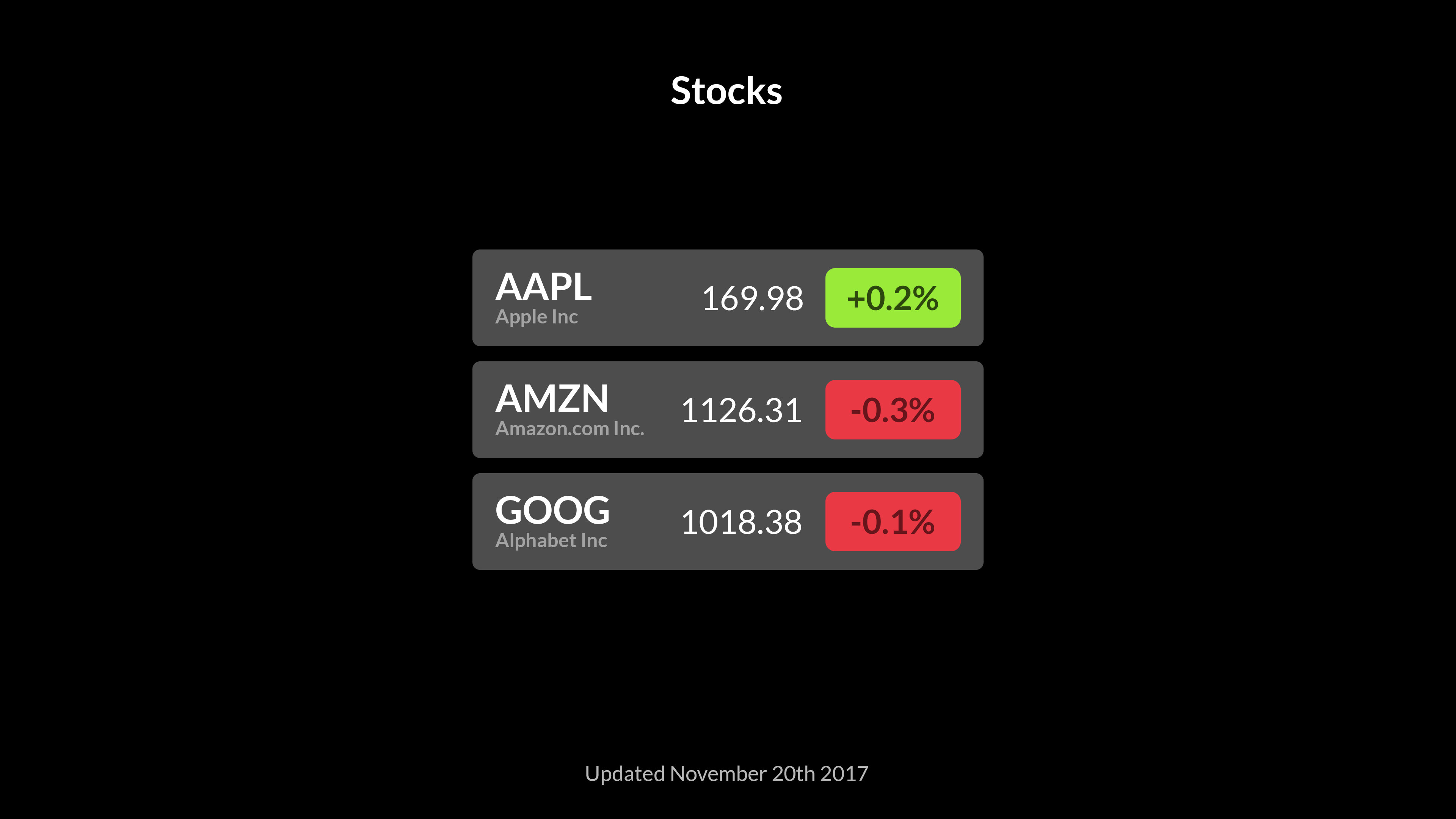 Stocks screenshot 1